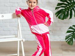Теплый спортивный костюм на девочку из велюра на хлопковой основе в розовом цвете 9-12 лет