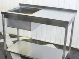 Стол мойка из нержавеющей стали для кафе, ресторана столовой