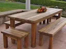 Стол с лавками для террасы из дерева под заказ от производст