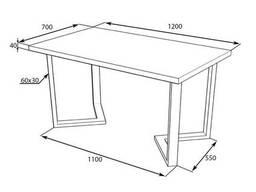 """Столик для кафе из дерева """"N45"""" из массива ясеня 120х70"""