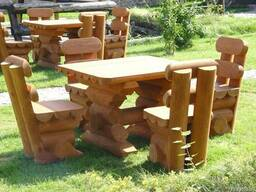 Столы и лавки из сруба, садовая мебель из оцилиндров бруса