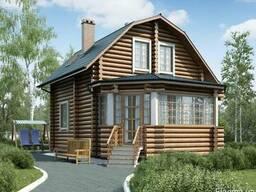 Строительство деревянного дома из оцилиндрованного бревна 7х
