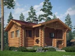 Строительство дома из оцилиндрованного бревна 5х10 м