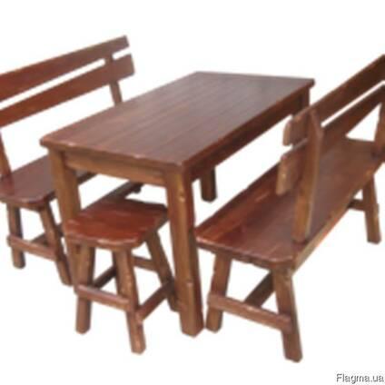 Комплект мебели из дерева (Стол, стулья и лавочки) купить в Москве ... | 424x424