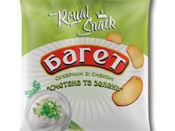 """Сухарики пшеничні багет зі смаком """"Сметана та зелень"""" 35 г ТМ Royal Snack"""