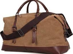 Сумка дорожная с текстиля Vintage коричневая Vntg14580