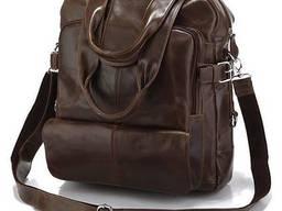 Сумка рюкзак кожаная , Коричневый Vntg14150