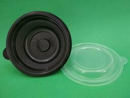 Одноразовый контейнер для супа, сметаны, салатов 350 мл, черный с крышкой, ПП-117-350. ..