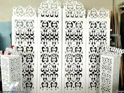 Свадебная арка, резная ширма, ажурные колоны для президиума