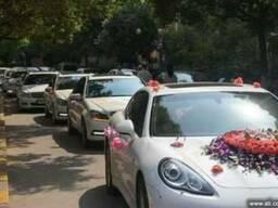 Свадебный кортеж из белых автомобилей