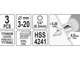 "Свердла по металу конусні титанові YATO HEX-1/4"" HSS 4241 3-12 мм, 4-12 мм, 4-20 мм 3 шт"