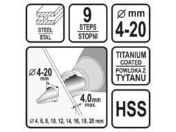 Свердло конічне ступінчасте по металу Sthor 4-20 мм HSS 4241