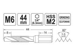 """Свердло-мітчик YATO М6 х 1 x 44/8 мм HSS М2 HEX-1/4"""""""