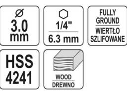 """Свердло по дереву спіральне YATO Ø3 x 65/35 мм HEX 1/4"""" HSS 4241"""