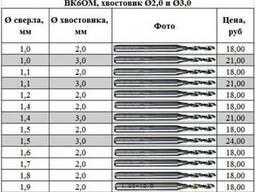 Сверло твердосплавное ВК6М. Список прилагается.