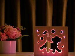 """Светильник ночник ArtEco Light из дерева LED """"Веселый львенок"""" с пультом и регулировкой. .."""