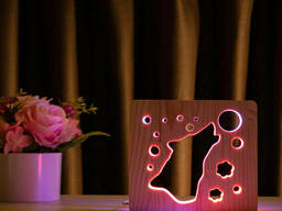"""Светильник ночник ArtEco Light из дерева LED """"Волк и луна"""" с пультом и регулировкой. .."""