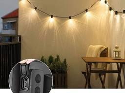 Светильник ретро лампа Эдиссона гирлянда на 10 ламп на солнечной батарее фонарь