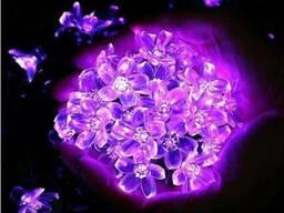 Светодиодная гирлянда на солнечной батарее Лютики фиолетовый