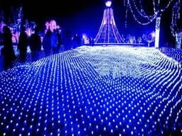 Светодиодная гирлянда сетка 200 LED 2х3 метра синий 220V