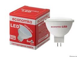 Светодиодная лампа LED MR16 6W GU5. 3 Economka (теплый свет)