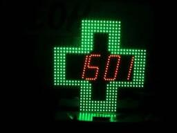 Светодиодный аптечный крест с часами датой и температурой