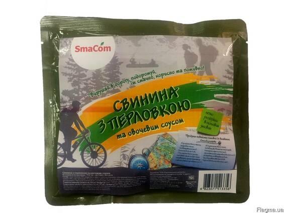 Свинина с перловкой и овощным соусом в реторт-пакете SmaCom