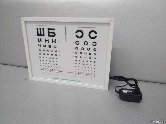 Таблица для проверки зрения, таблица оптотипов, на 2.5м
