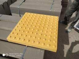 Тактильная плитка 500х500х60 мм, бетонная желтая