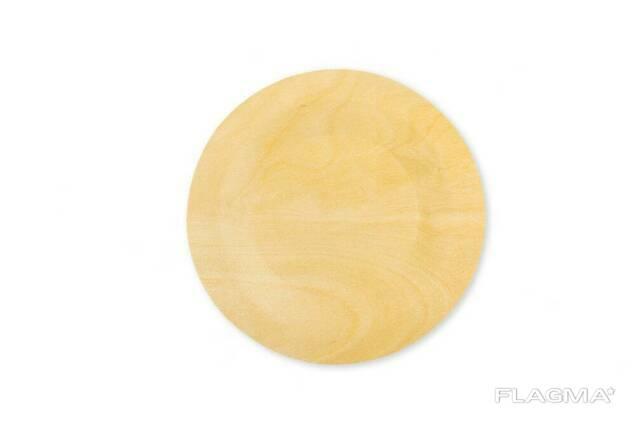 Тарелка деревянная одноразовая 230 мм (упаковка Полиолефиновая Пленка 100 шт. ) EcowoodUA
