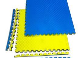 """Маты татами """"ласточкин хвост"""" 20 мм, 120 кг/м. куб, желто - синие"""