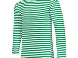 Тельняшка летняя с длинным рукавом 100% хлопок вязаная (зеленая)