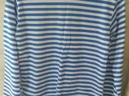Тельняшки вязанные летние, хлопок, летние, с голубой полосой, 62 р и др.