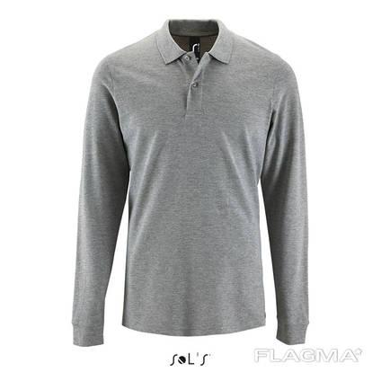 Тенниска- поло с длинным рукавом серого цвета