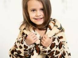 Теплый махровый халат для девочки в леопардовый принт