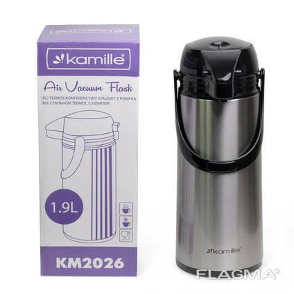 Термос Kamille со стеклянной колбой и помпой 1,9 л