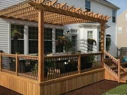 Терраса деревянная с перголой навесом. Строительство.