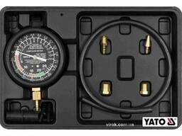 Тестер для вимірювання вакуума і компресії YATO 0-0.1 МПа 9 шт + кейс