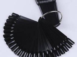 Типсы чёрные, 50 шт на кольце, веер, 12 см