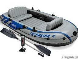 Трехкамерная надувная 315х43 см лодка под транец Intex 68324