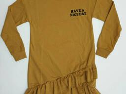 Трикотажное подростковое платье-туника для девочки на длинный рукав, р.152