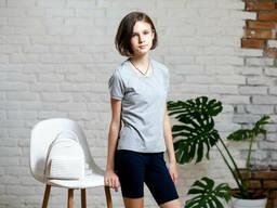 Трикотажные шорты подростковые для девочки темно-синего цвета