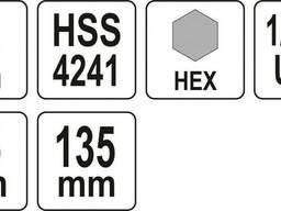 """Тримач зі свердлом Ø6 мм YATO : HEX10, для корончатих свердл з різьбовим кріпленням- 1/2"""""""