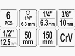 """Тримачі-адаптери торцевих головок YATO 1/4"""" 3/8"""" 1/2"""" 50/150 мм HEX-1/4"""" 6 шт"""
