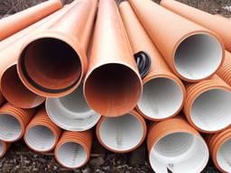 Трубы канализационные дренажные гофрированные, ПВХ 110-1200