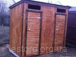 Туалет деревянный с душевой кабинкой 2,6*11м