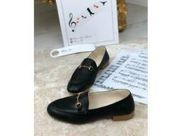 Туфли балетки кожаные в стиле Gucci