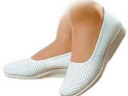 Туфли белые с закрытой пяткой (кожа) рабочая спецобувь