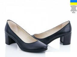Туфли кожаные женские демисезонные на каблуке
