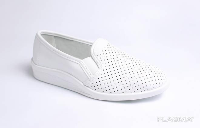 Туфли медицинские кожаные белые с перфорацией